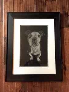 Nicely framed charcoal drawing.